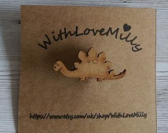 Cute Handmade Wooden Stegosaurus Dinosaur Brooch