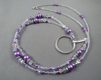 """beaded breakaway lanyard purple glass pearls and crystals 32"""" to 46""""ID badge holder with magnetic or toggle clasp  ,unique fashion"""
