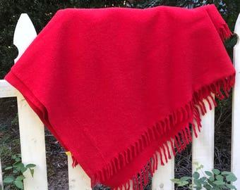 Vintage Bright Red Wool Lap Throw/Blanket