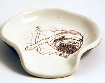 Large Handmade Stoneware Spoon Rest in White and Rich Brown with a Snoozing Pug Dog