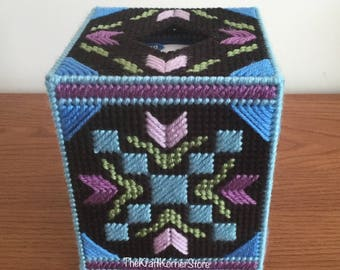 Quilt style Tissue Box Cover 'Garden Path', hand sewn on plastic canvas