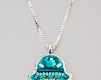 Arabic lucky talisman, Silver Chamsa medallion, Swarovski crystals and beads, turquoise shades, handmade by Adaya Jewelry, holiday gift