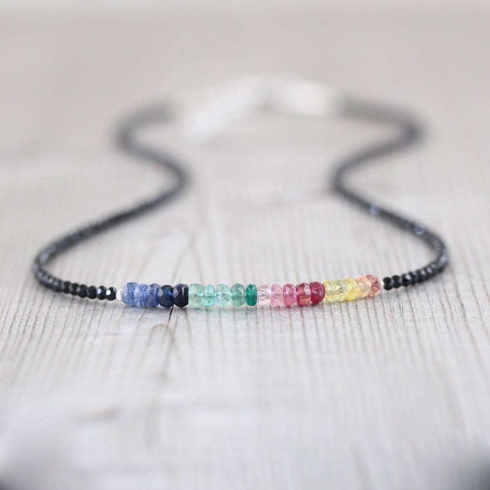 Sapphire, Ruby, Emerald & Black Spinel Necklace. Sterling Silver ...