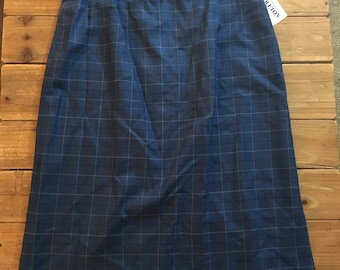 Vintage Pendleton Women's Wool Blue Plaid Skirt Size 16 NWT