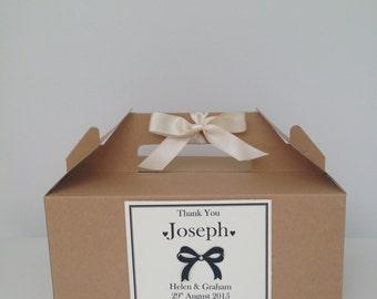 Children's Personalised Brown Kraft Wedding Activity Favour Box Black Bow