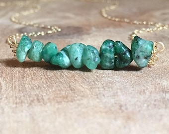 Emerald Necklace - Raw Emerald Necklace - May Birthstone Jewelry - Raw Crystal Necklace - May Birthstone Necklace - Silver or Gold
