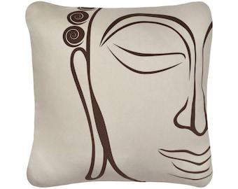 Buddha Organic Cotton Throw Pillow Cover, Orange Pillow, Purple Pillow, Beige Pillow, Decorative Pillows, Asian, 18 x 18 Inch