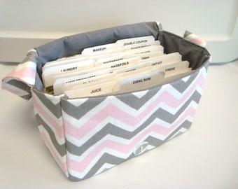 "Large 4"" Size Coupon Organizer / Budget Organizer Holder Box - Attaches to Your Shopping Cart - Bella Chevron Zig Zag"