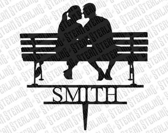 Wedding Cake Topper Personalized Couple in Love on Park Bench Silhouette Laser Cut LGBT Gay Lesbian Friendly