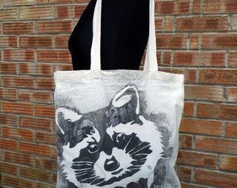 Hand painted tote bag  Raccoon