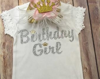 Birthday Shirt, Silver Glitter with gold crowns, First Birthday, Birthday Girl
