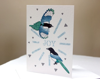 SALE Greeting Card: Magpie 'Two for Joy'