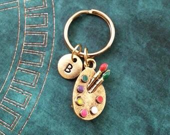 Paint Palette Keychain, SMALL Paint Keychain, Personalized Keychain, Painter Gift, Artist Keychain, Artist Gift, Gold Paintbrush Keychain
