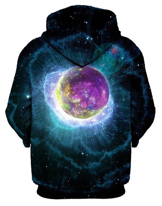 Mandala Nebula Art Hoodie - Outer Space EDM Hoody - Raver Clothes - Concert Clothing - Fractal Pattern sDHSEr9