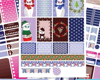 Winter cats Big Happy Planner Stickers Printable,Cute cats BIG MAMBI Happy planner Kit,WINTER Weekly Kit, Printable Sampler,Instant download
