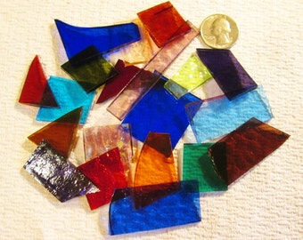 Scrap Stained Glass 3 lbs. Transluscent - Small Flat Rate Box Full