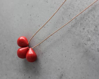 Handmade ceramic drop beads, red pendant necklace, long necklace