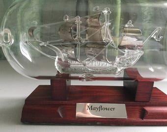 Hand Blown Mayflower Ship in a Bottle