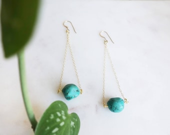 Turquoise Bead Drop Earrings with 14k gold chain and hooks