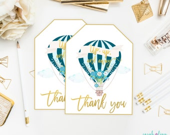 Hot Air Balloon Favor Tags, Up up and Away, Baby Shower Favor Tag, Balloon Birthday, Printable, Teal Blue Boy Baby Shower, Instant Download