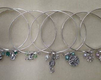 Bangle Bracelets CLOSEOUT SALE Specify Color and Charm, Pearl or Crystal