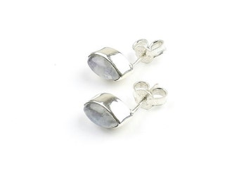 Sterling Silver Moonstone Earrings, Moon Earrings, Moonstone Stud Earrings, Minimal, Modern