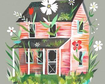 Prairie Home Art Print   Farmhouse Wall Art   Colorful Painting   Katie Daisy Artwork   8x10   11x14