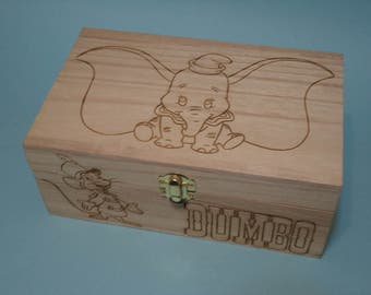 Dumbo Etched wood Trinket Box