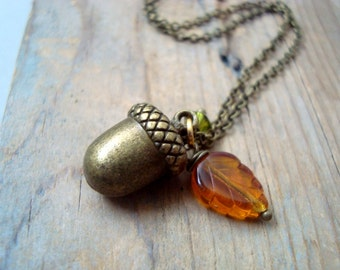 Little Brass Acorn Necklace Fall Woodland Autumn Weddings Bridesmaid Necklace Brass Jewelry Gifts Under 40 Charm Necklace