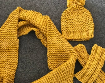 Hand knitted cowl neck scarf with matching beanie and gauntlets