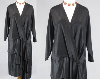 Vintage 20s Dress, 1920s Black Satin Drop Waist Dress with Tiered Skirt, Risqué Plunging Neckline, Flapper Dress, Large