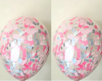 """5  Confetti filled balloons for weddings babyshower birthdays parties 11"""""""