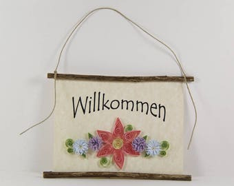 Willkommen, German Welcome, Paper Quilled German Welcome Sign, 3D Quilled Banner, Paper Flower Decor, Pink Purple Blue Decor, Germany Gift