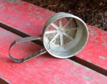 OLD FLOUR SIFTER, METAL, PRIMITIVE, UNIQUE, FUN, DECOR OR USE