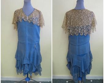 1920s Authentic Vintage Flapper wedding dress, blue nude lace, Silk chiffon, Ruffled Tiers Hemline,  Great Gatsby Dress, Rhinestone Pins