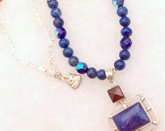 "21 or 24"" Blue Lapis & Garnet Pendant Necklace. Hinged, Sterling Silver, free US ship 139.00 ea"