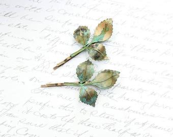 Branch Bobby Pins, Patina Leaves, Rustic nature, Leaf Hair Clips, Verdigris Green, Woodland Wedding, Bridesmaids Gift, Nature Hair Pins