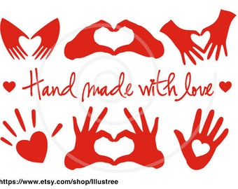 Hand made with love, red heart, handmade, digital clip art set, clipart, graphic design, logo, sticker, tag, label, SVG, instant download