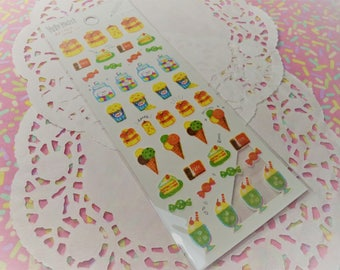 Sale Yuru Maste Foodie Kawaii Sticker Sheet For Snail mail, cards, gifts, planners, photos, school, diy, books, cell phones, scrapbooking.