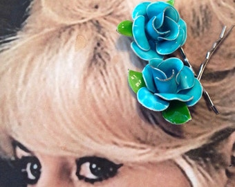 Turquoise Blue Rose Bridal Hairpins Vintage 1960 1970 Enamel  Decorative Hair Pins Bobby Pins Rockabilly Wedding