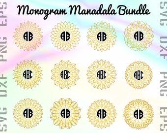 Gold Monogram Mandala SVG Files - Mandala Monogram Dxf Files - Circle Mandala Clipart - Mandala Circle Cricut Files - Mandala Cut Files