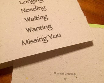 Greeting Card, Missing You Is Not Enough