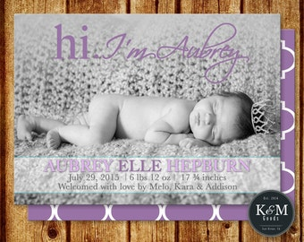 Baby Birth Announcement / Baby Girl Announcement / Baby Boy Announcement / Custom Birth Announcement / Printable Digital File