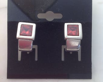 Sterling Silver and Ruby Earrings