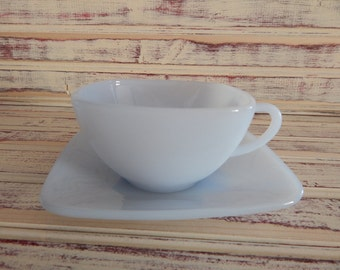 Fire King Blue Azurite Charm Cup and Saucer