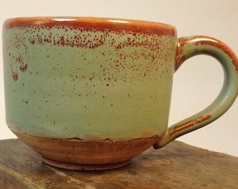 10 oz Green and Orange Ceramic Coffee Cup // Stoneware Mug // Handmade hand-thrown Pottery Mug // Wheel thrown and hand glazed