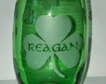 Etched shamrock stemless wine glass, Irish, Ireland,  gift, Irish gift, Irish birthday gift, personalized name glass, wine glass, wine