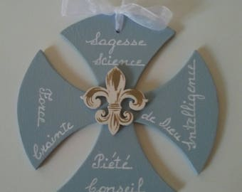 Medium 3 mm, with fleur de lis, cross and the 7 gifts