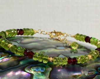 Peridot Bracelet Multi stone Jewelry Beaded Multi stone Bracelet Handmade Jewelry Birthstone Jewelry