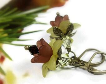 Sunflower Earrings, Swarovski Crystal Jewelry, Brown and Yellow Flower Earrings, Antique Brass Earrings, Jewelry Gifts for Gardeners